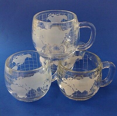 Nestle Hot Chocolate Glass Mugs World Map Globe Advertising Set 4 Nescafe Coffee