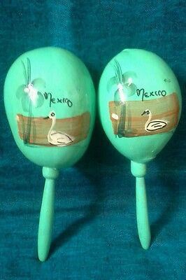Vintage Mexican Maracas Shakers Turquoise Teal Birds Water Flowers White Swan