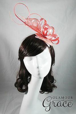 Annabelle pink fascinator headpiece hat wedding races Melbourne Cup Derby Day