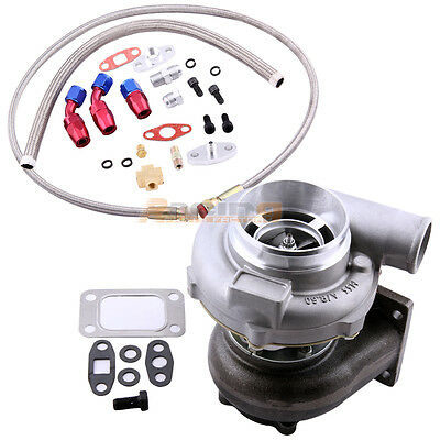 GT30 GT3037 GT3076 ANTI SURGE Turbo Turbocharger WITH  Oil FEED RETURN Line Kit