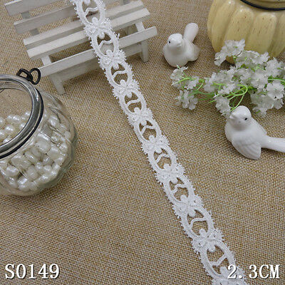 1yd milk white bow rayon floral lace fabric sewing trim craft DIY dress L1497