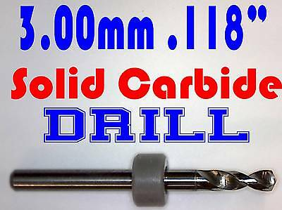 "3.00mm - .118"" - Solid Carbide Drill Bit -1/8"" Shank  <Brand New!> N"