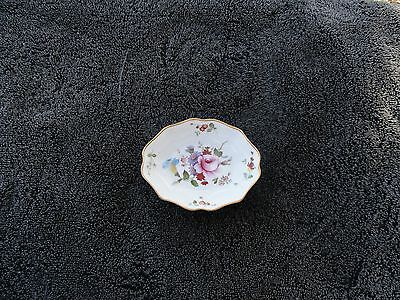 Royal Crown Derby Pink Blue Flowers Gold Trim Small White Oval Bone China Tray