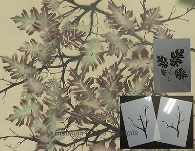 "Camo Connect-A-Branch with Oak Leaf Set (3) 12""x9"" stencils,Duckboat,Ammo Can"
