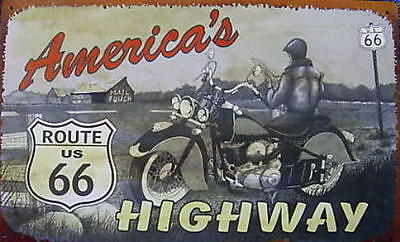 Metal - Tin Sign AMERICA'S HIGHWAY - ROUTE 66 Man Cave Garage Sing