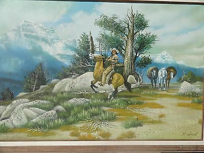 Vintage Cowboy Western Style Original Oil Painting Signed by Y. Hyun - Mystery