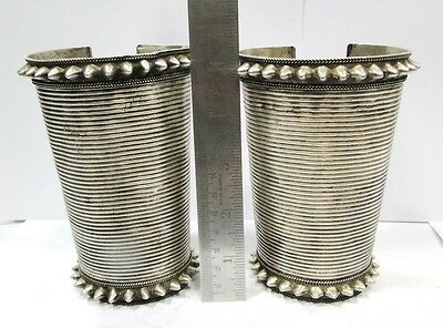 Vintage Antique Ethnic Tribal Old Silver Cuff Bracelet Bangle Pair Rajasthan Ind