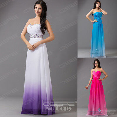 New Long Chiffon Formal Prom Ball Gown Party Bridesmaid Evening Dresses Size6-16