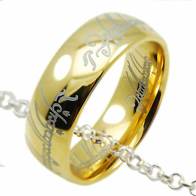18k Gold IP Lord of the Rings Hobbit Tungsten One Ring Pendant Chain Necklace