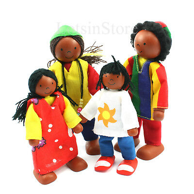 Black dolls house family figures set of 4 African wooden dolls by Goki