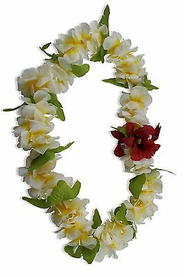 Hawaiian Lei Party Luau Floral Hibiscus Flower Dance Necklace White Yellow Red