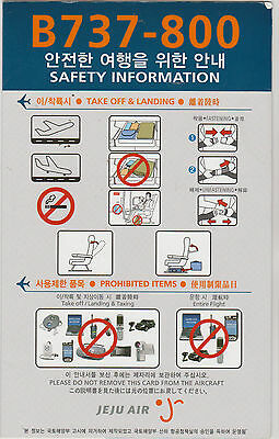 Safetycard JEJU AIR B737-800, 2010.09.01 (Rev1), low cost airline South Korea