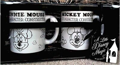 Disney Parks Mickey Minnie Mouse Animation Sketch Ceramic Mug Cup Set of 2 NEW