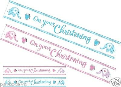 Christening Baby Boys Girls Party 9Ft Sweet Elephant Foil Banner Decoration