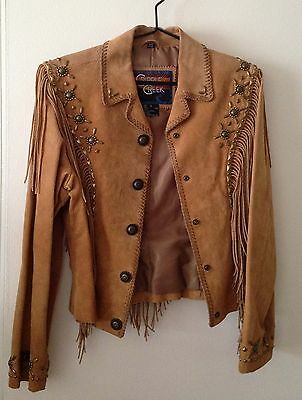 Authentic Cripple Creek Leather Cowgirl Fringed Jacket with Gold Embellishments