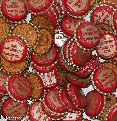 Soda pop bottle caps Lot of 25 OLD COLONY STRAWBERRY cork lined new old stock