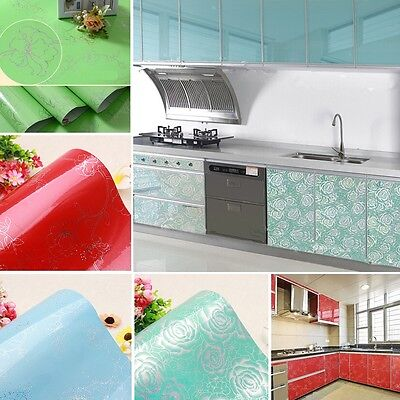 Gloss Vinyl Kitchen Cupboard Door Cover Self-adhesive Furniture Contact Paper