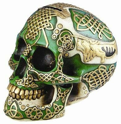 GREEN GOLD LION SKULL WITH TATTOO SKELETON FIGURINE STATUE MONEY BANK HOME DECOR