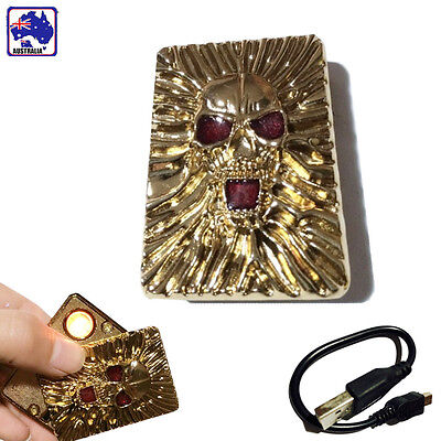 Electronic Windproof Cigarette Cigar Lighter Skull USB Rechargeable TUSBL5035