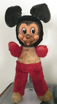 Vintage 1950's Straw Filled Plush Mickey Mouse w Original Big Nose by Gund