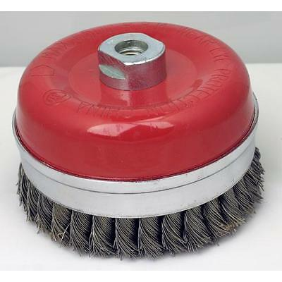 "Bridled Knot Cup Brush 5"" x 5/8-11 AH, .20"" Carbon Steel Wire"