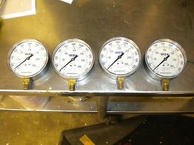 S47 LOT OF 4 ASHCROFT VIKING WATER GAUGE GAUGES 35-W1005P-02L-XUL FIRE PROTECT
