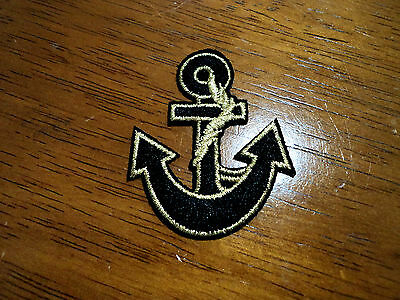 New Nautical Gold Black Anchor Embroidered Patch Applique Badge Iron Sew On
