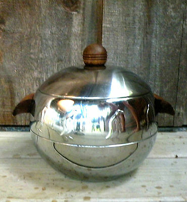 Vintage West Bend PENGUIN Chrome Ice Bucket-Hot and Cold Server Wood Handles