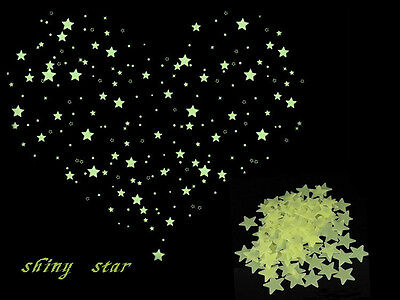 Bling Charm Kid Bedroom Decor Fluorescent Glow Star Ceiling Wall Sticker 100pcs
