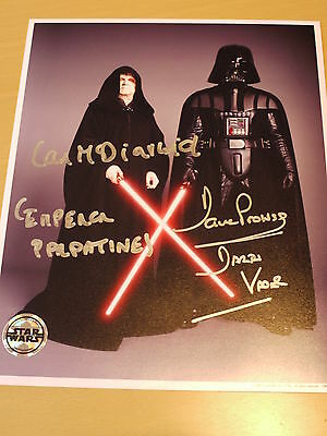 Signed Dave Prowse & Ian McDiarmid Star Wars 10x8 Official Pix Photo - COA