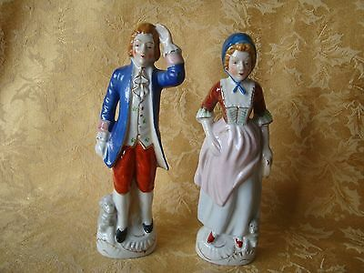 Pair of Tall Occupied Japan Figurines, Beautiful Colonial Dress Man and Woman