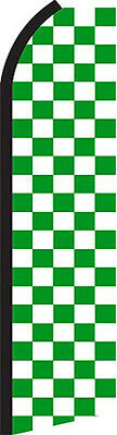 Checkered Green and White Swooper Flag (2.5ft x 11.5ft)