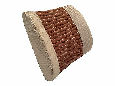 Lumbar Support Beige Wedge Pillow with Therapeutic Massage Beads Office Seat CAR
