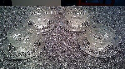 (4) Imperial Cape Cod Glass Cups & Saucers
