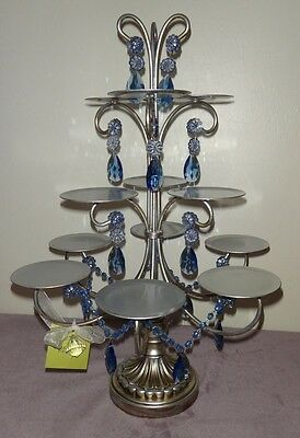Amazing Opulent Treasures Silver with Blue Drops 12 Cupcake Stand Holder WEDDING