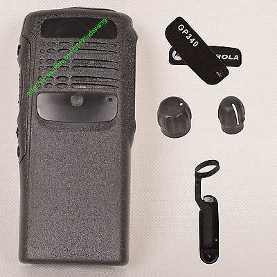 Black replacement housing case for Motorola GP340 (Ribbon Cable+Speaker+mic)