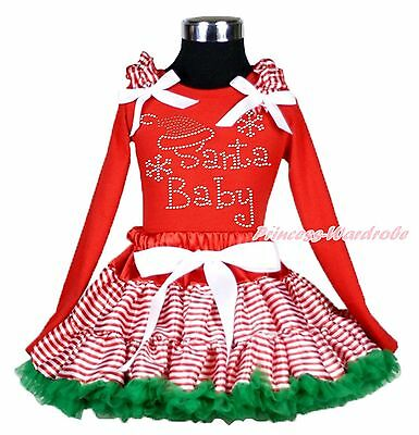 XMAS Rhinestone Baby Santa Red Top Stripes Pettiskirt Kids Girl Outfit Set 1-8Y