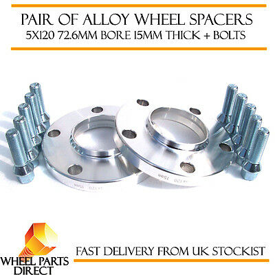 BMW Alloy Wheel Spacers Spacer Kit 5x120 72.6 15mm + 12x1.5mm 40mm Long Bolts