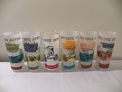 Vintage Lot 6 Frosted & Clear Libbey Glass Antique Autos Tumblers Glasses Cars