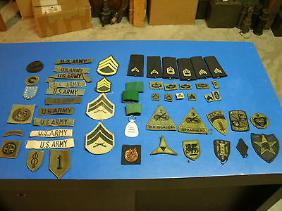 U.S. ARMY PATCH RANK LOT 53  ITEMS  GREEN  NOT VELCRO lot 12