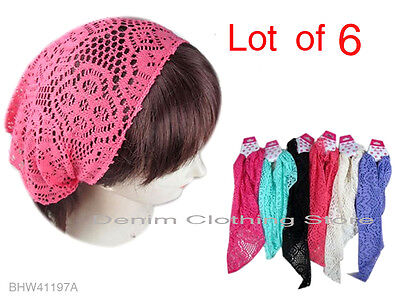 Lot Of 6 Fashion Stretch net Bandana Jersey Workout Yoga Hair Band Head Wrap
