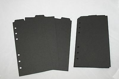 12 black Filofax Personal size Tabbed dividers monthly subject top tab