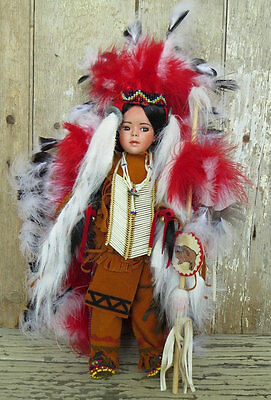 NATIVE AMERICAN PORCELAIN INDIAN DOLL Warrior Head Dress Paradise Galleries 1997