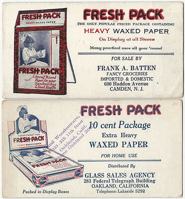Two Fresh Pack Waxed Paper Adertising Blotters -Wax Paper for Home Use