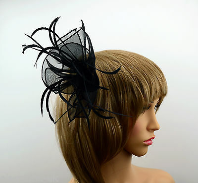 Black Fabric Ribbon & Feathers Fascinator on a Comb Wedding Proms Races Funeral
