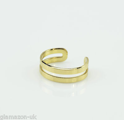 Gold Plated Double Band Adjustable Toe Ring