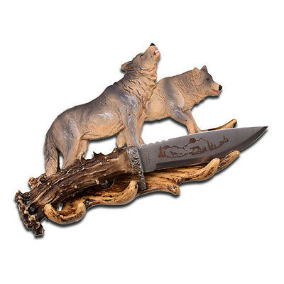 """WC-30W 8"""" Overall Knife with Decorative Wolf Resin Stand WC30W-BBT3"""
