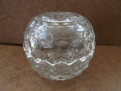 INDIANA WHITEHALL COLONY GLASS CUBIC ROSE BOWL FAIRY LAMP