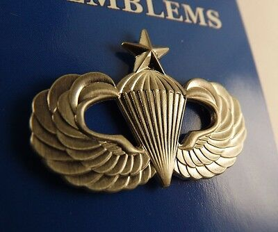 """BRAND NEW Lapel Pin US Army Senior Paratrooper Wings Pewter 1 1/4"""""""