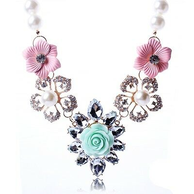 Gorgeous Fashion Clear crystal Bling Flower Vintage Bib statement chain necklace